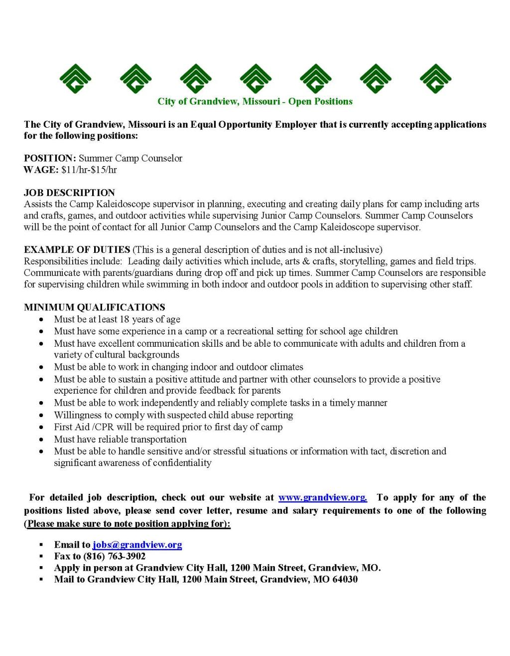 Grandview MO Careers SUMMER CAMP COUNSELOR – Camp Counselor Job Description