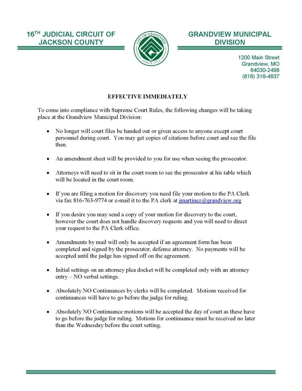 Court Forms | Grandview, MO